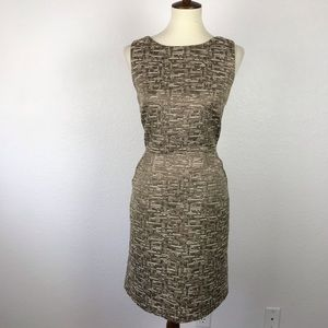Banana Republic Print Metallic Sheath Dress D669